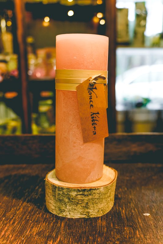 88. 3x9 timber candle (pink)