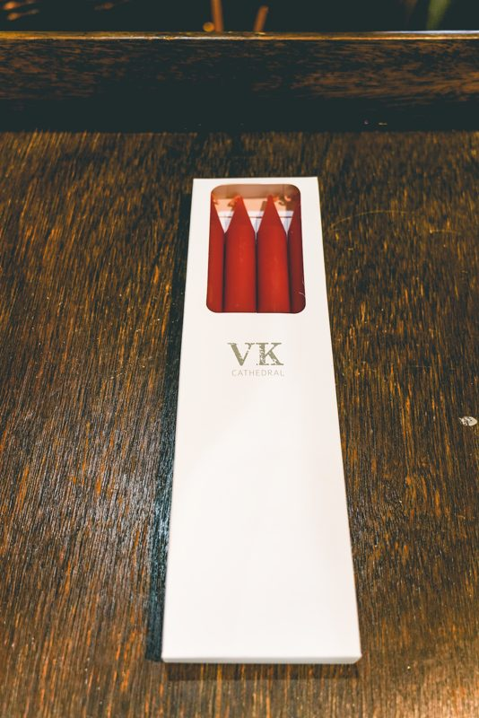 Cathedral taper candles-red