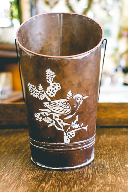 Galvanized Planter With Bird Design-02