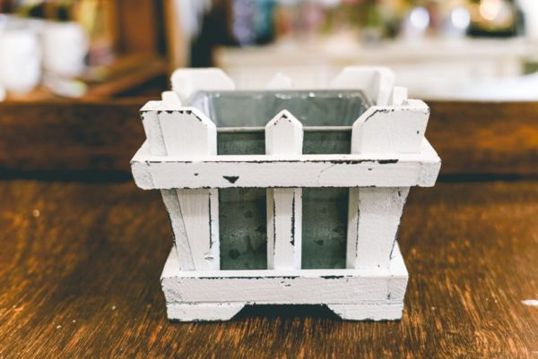 White wood planter