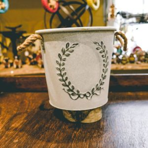 small plant bucket with design
